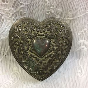 VINTAGE HEART STERLING TRINKET BOX